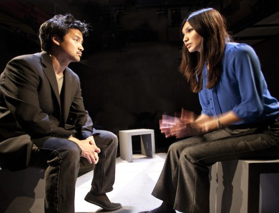 Kevin Shen as DHH with Gemma Chan in YELLOW FACE by David Henry Hwang, Park Theatre and National Theatre, London. Photo by Simon Annand